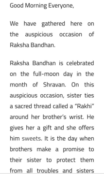 Short Raksha Bandhan Speeches in English